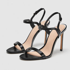 Zara Woman Black Thin Strappy Sandals Heels
